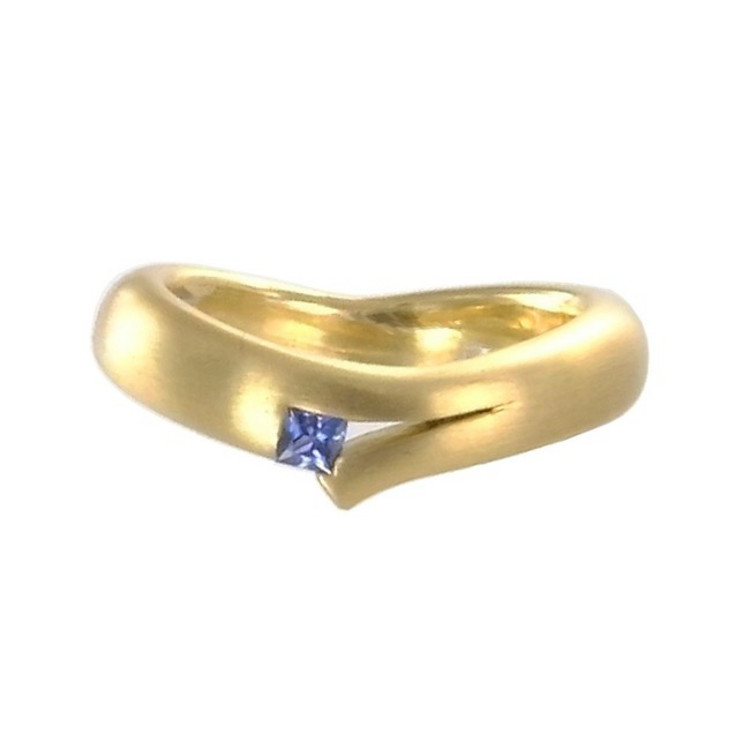 Ring 64 - goldfarben - Gold 750 18K Saphir