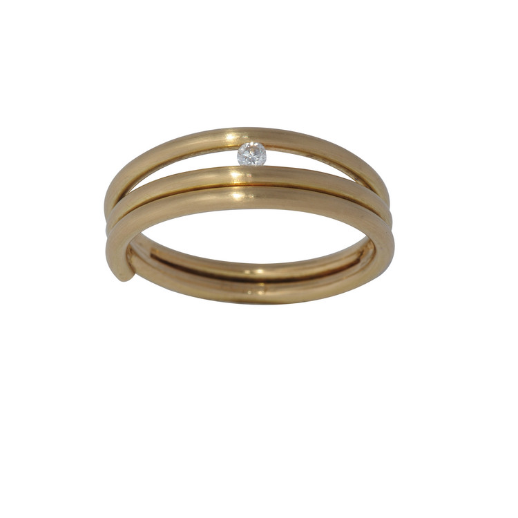 Ring 51 - gold - Gold 750 18K Brillant 0,03ct