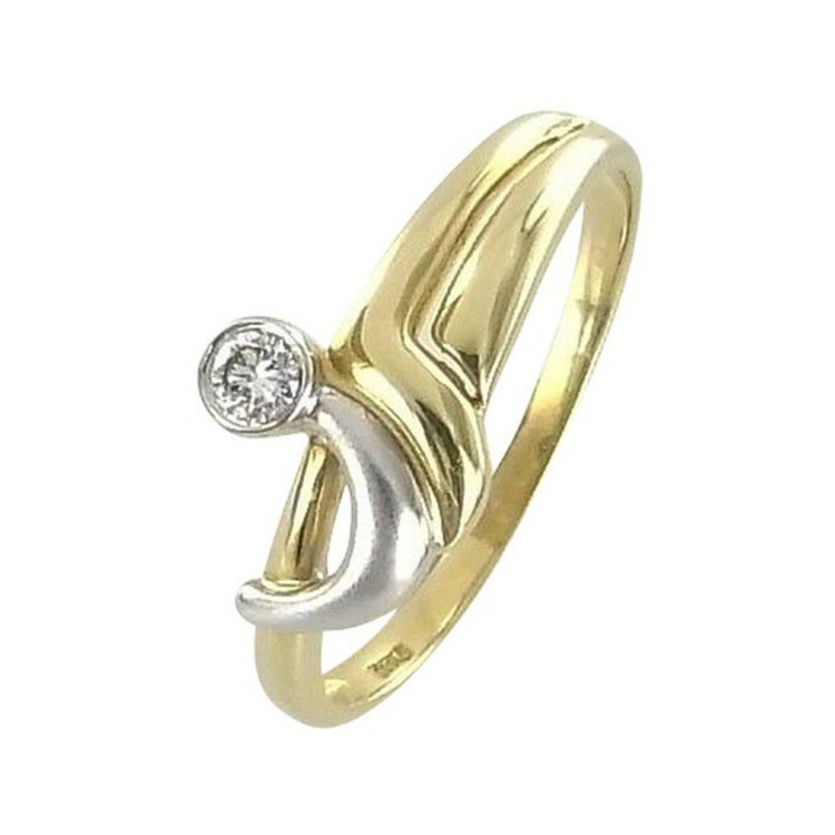 Ring 64 - Gold 585 - bicolor - Brillant 0,12ct