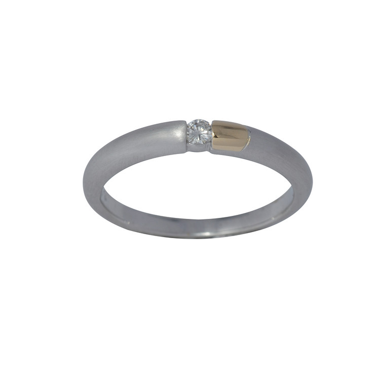 Ring 54 - bicolor - Gold 585 14K Diamant 0,06ct