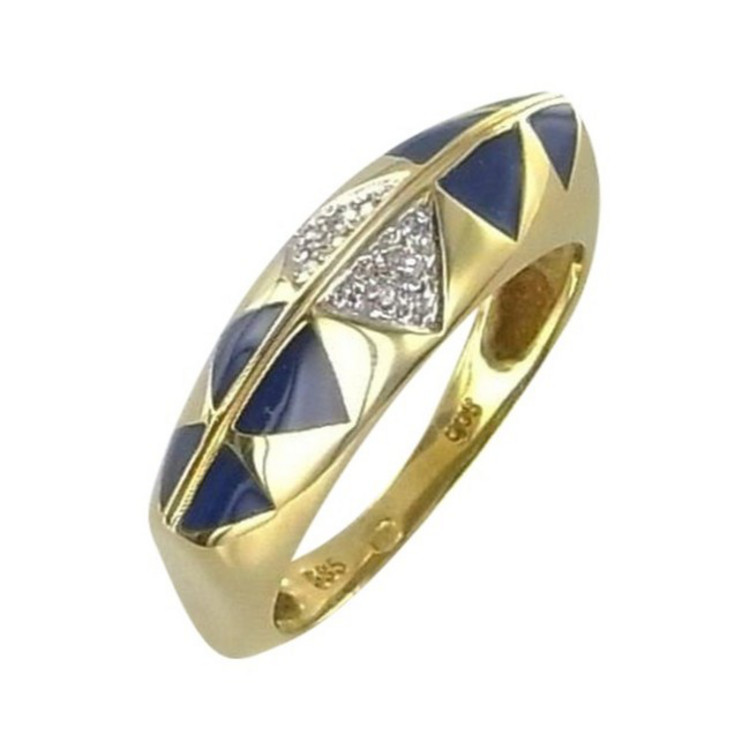 Ring 57 - golden - Gold 585 14K Brillant  0,04ct