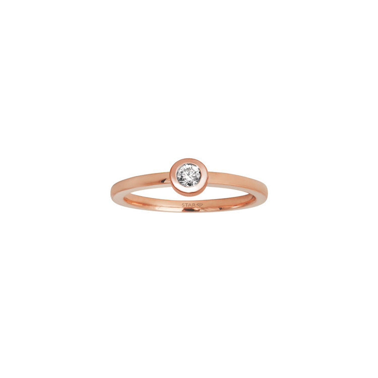 Ring 54 - rosé - Gold 585 14K Diamant 0,10ct