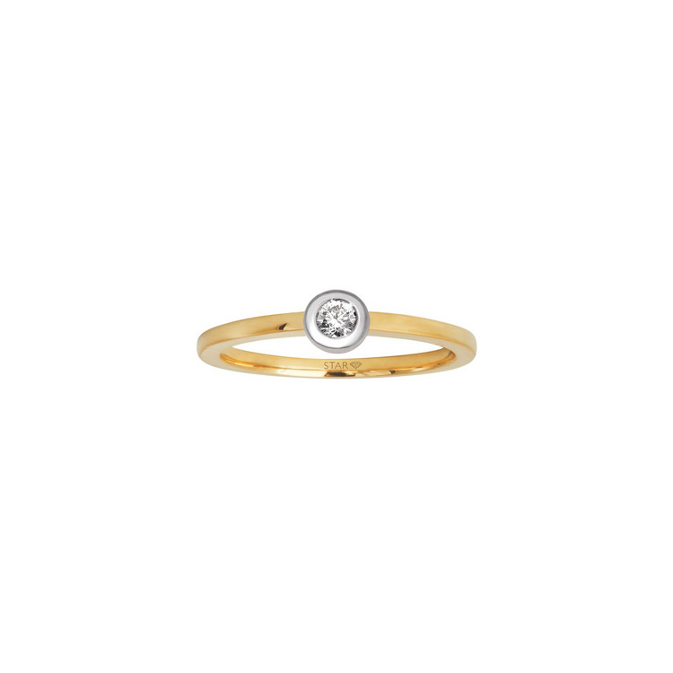 Ring 54 - bicolor - Gold 585 14K Diamant 0,05ct