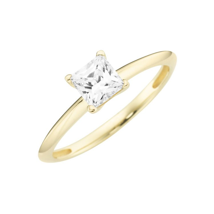 Ring 56 - Gelbgold 375 - Solitaire Zirkonia eckig