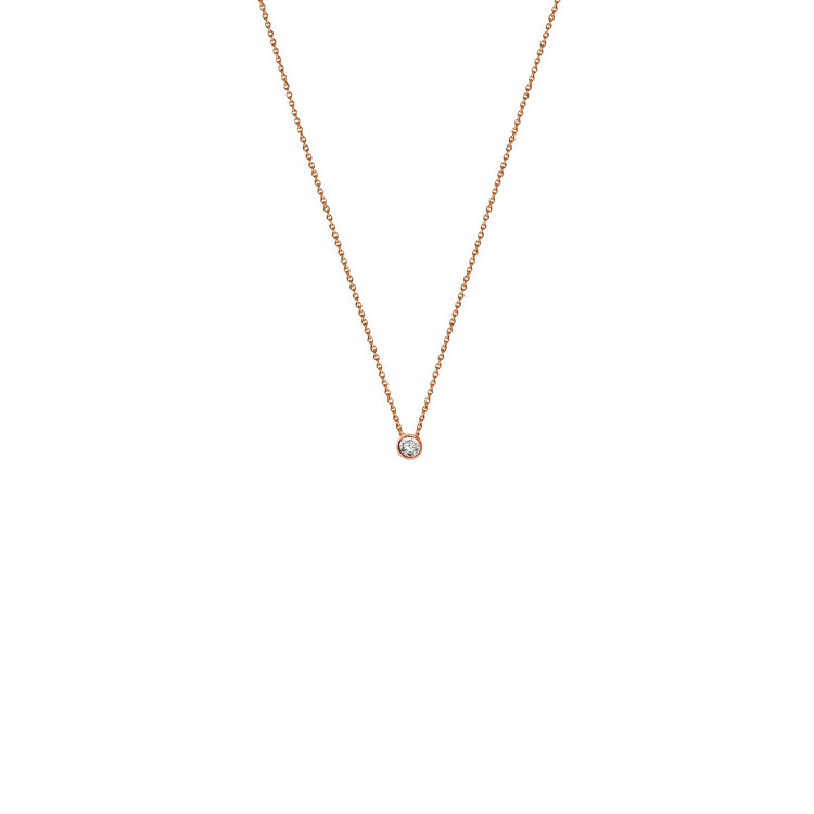 Collier - Gold 585 14K Diamant 0,10ct - rosé
