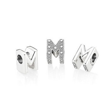 Bead - Silber - Charm letter M