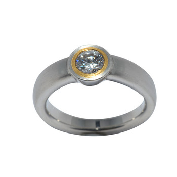 Ring 57 - bicolor - Platin Brillant 0,57 E if