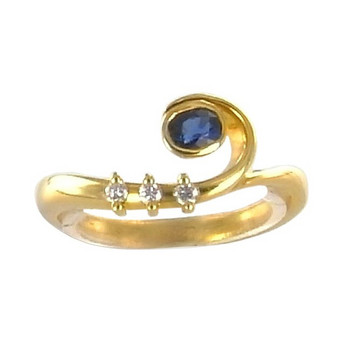 Ring 54 - Gelbgold 750 - Saphir -  Brillanten