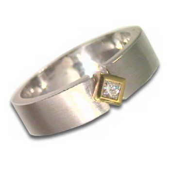 Ring 63 - Gold 585 - bicolor - Diamant 0,095ct