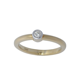 Ring 56 - GOld 585 - bicolor - Brillant 0,10ct