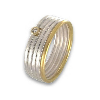 Ring 53 - bicolor - Sterlingsilber Gold Brillant