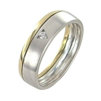 Ring 65 - Gold 585 - bicolor - Brillant 0,05ct