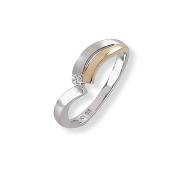 Ring 55 - Gold 585 -bicolor - Brillant 0,03ct