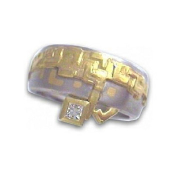 Ring 52 - bicolor - Palladium 950 Gold Brillant