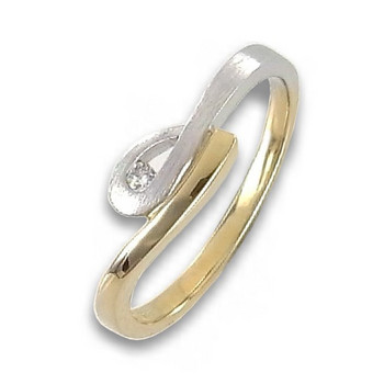Ring 54 - Gold 585 - bicolor - Brillant 0,03ct
