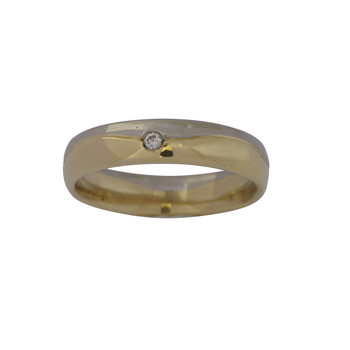 Ring 55 - bicolor - Gold 585 14K Brillant 0,03ct