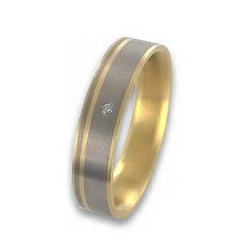 Ring 66 - Gold Titan Brillant 0,02ct - bicolor