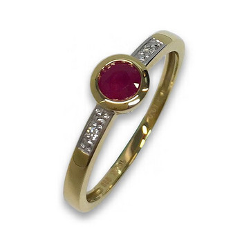 Ring 56 - goldfarben - Gold 585 14K Brillant Rubin