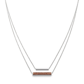 Collier - Rectangle Necklace Walnut Shiny Silver
