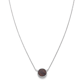 Collier - Circle Necklace Walnut Shiny Silver