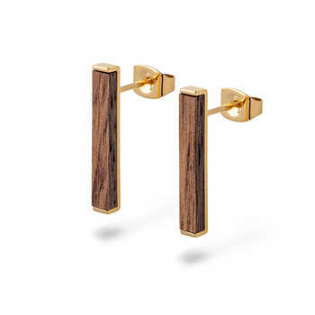 Ohrstecker -Rectangle Earring Walnut Shiny Gold