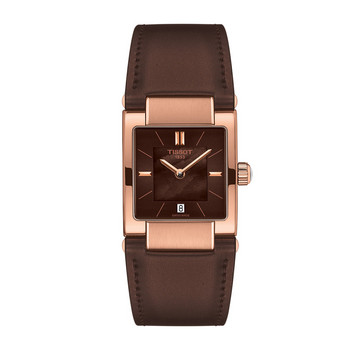 Uhr - Leder braun - T-Collection Lady rosé