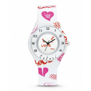 Uhr - Colori - Red Heart - weiß rosa