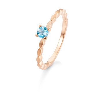 Ring - Rotgold 585 - Edeltopas Swiss blue