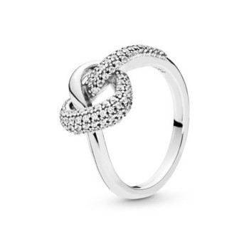 Ring 54 - Knotted Hearts - Silber Steine