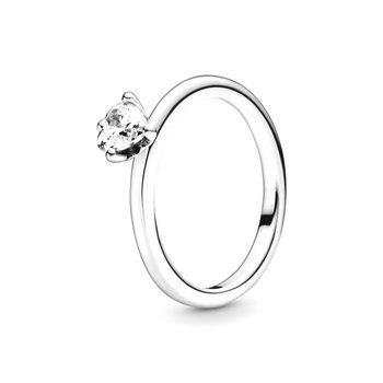 Ring 52 - Sterlingsilber - Clear Heart Solitaire