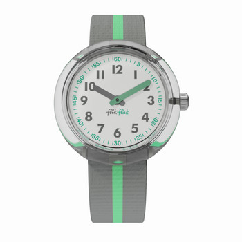 Kinderuhr - Green Band - grau/grün