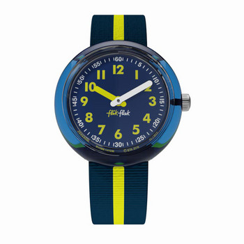 Kinderuhr - Yellow Band - blau/gelb